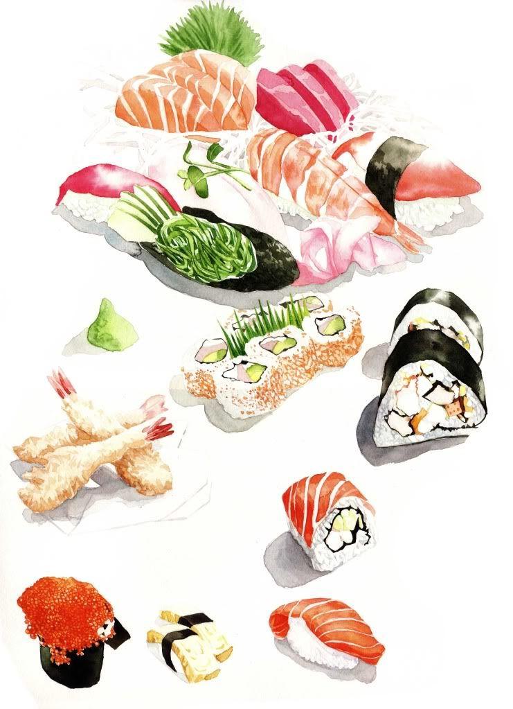 Taned1528 39 s image watercolor sushi illustration pinterest aquarelles la couleur des - La cuisine des sentiments ...