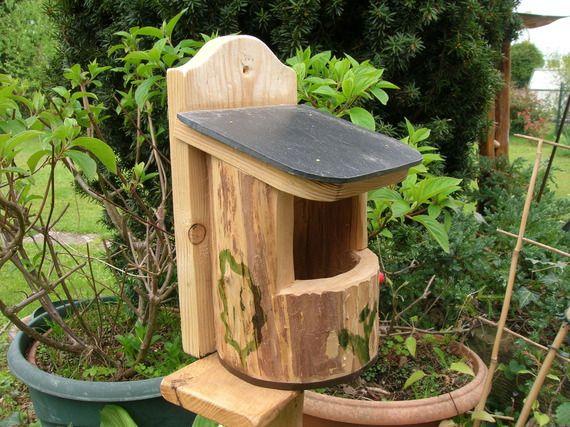 nichoir ouvert en bois original rustique bird house troglodyte mignon rouge gorge cabane. Black Bedroom Furniture Sets. Home Design Ideas