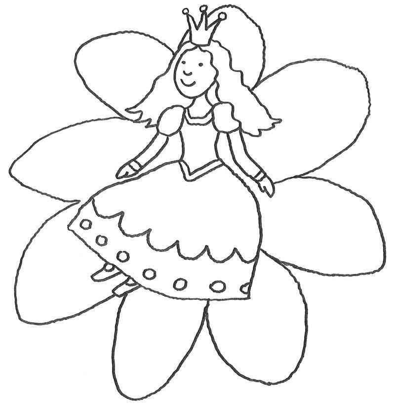 eine winzige prinzessin sitzt auf einer schönen blüte mit