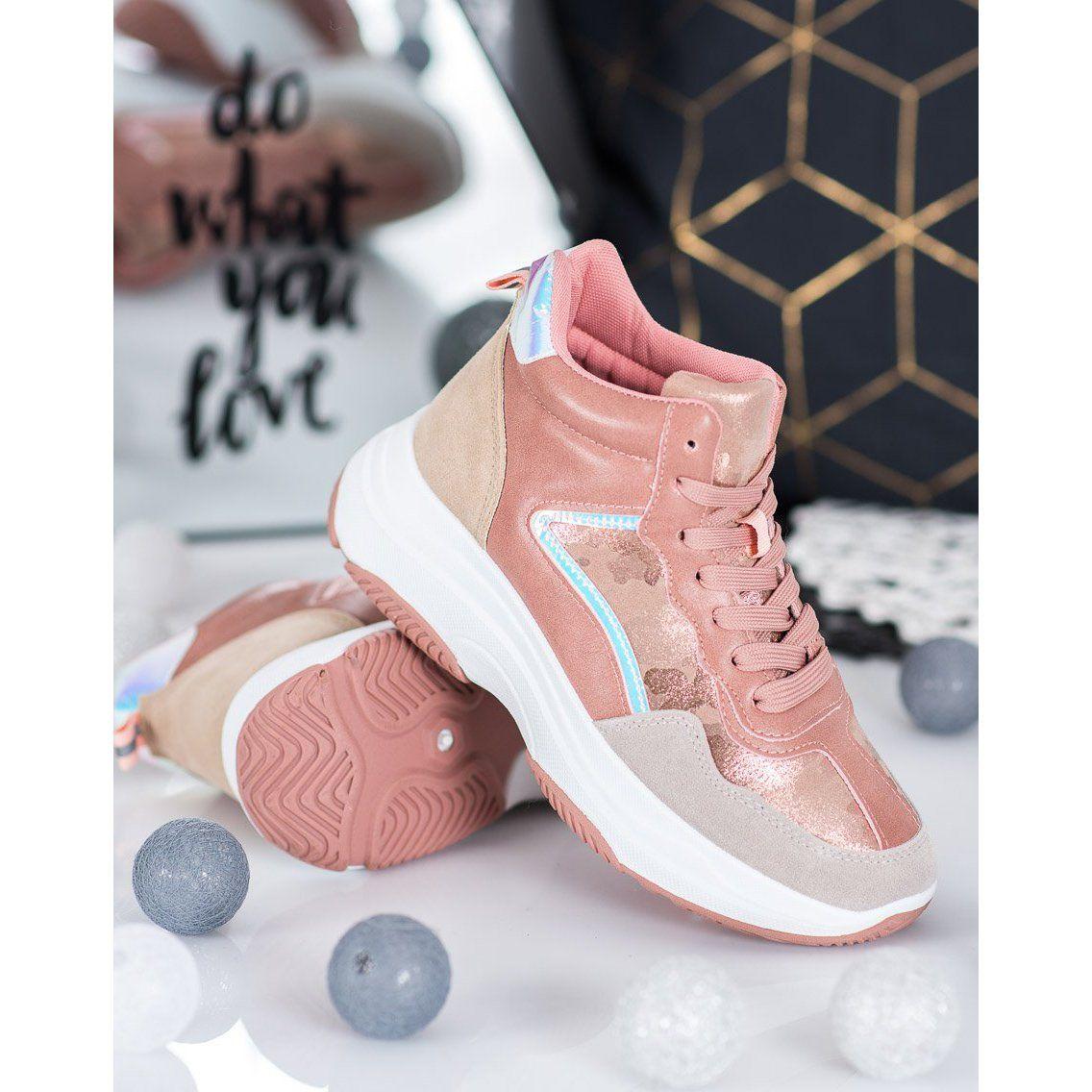 Ideal Shoes Wysokie Buty Na Platformie Rozowe Wielokolorowe