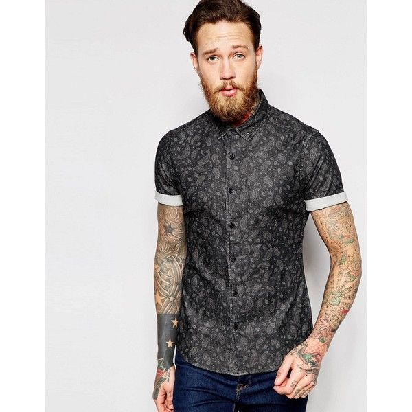 e16855fa ASOS Skinny Denim Shirt with Paisley Print In Short Sleeve ($41) ❤ liked on  Polyvore featuring men's fashion, men's clothing, men's shirts, men's  casual ...