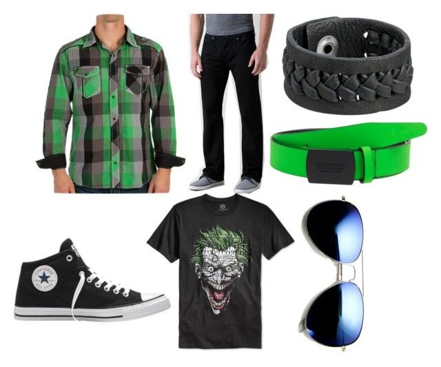 """""""Joker"""" by kelsey-williams015 on Polyvore featuring BKE, Bioworld, Converse, Revo, Frye, Dsquared2, men's fashion and menswear"""