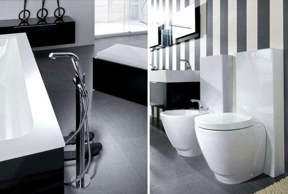 Bad Design -schwarz-weiße Wand Streifen BadeOase Pinterest - wand streifen