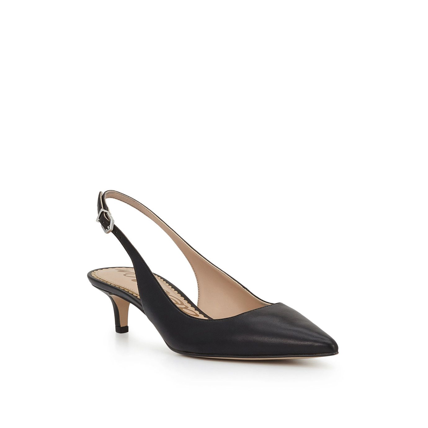Ludlow Slingback Kitten Heel By Sam Edelman Black Leather View 3 Heels Womens Shoes High Heels Shoes