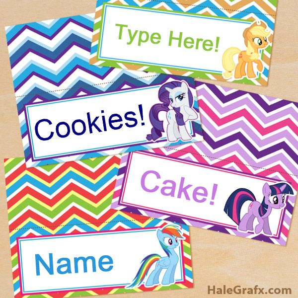 Free Printable My Little Pony Place Cards My Little Pony Birthday Party Pony Birthday Party My Little Pony Birthday