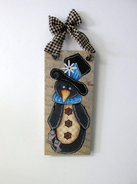 Penguin Hand Painted On Barn Wood Winter Scene Reclaimed Rustic