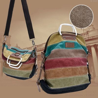 2015 Hot Campus Patchwork Rainbow Color Block Women Canvas Backpacks Rucksack Multifunction Girls Crossbody Bag for Cool Ladies