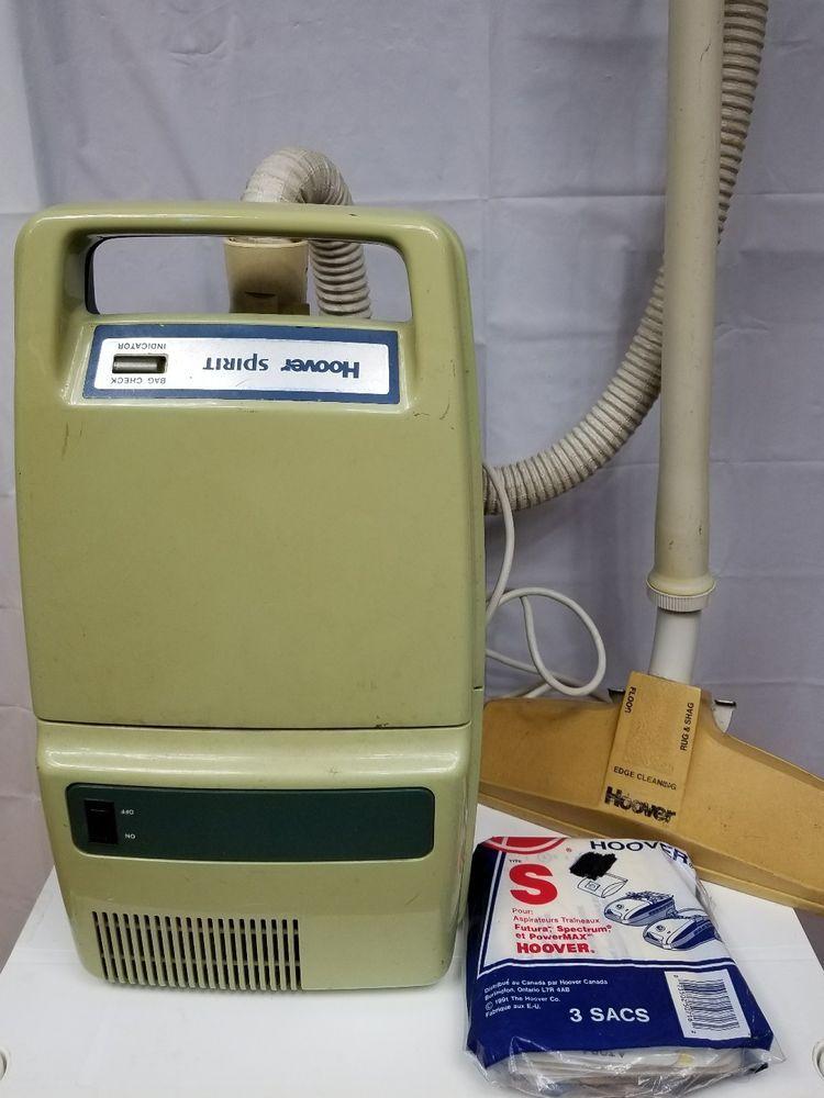 Hoover Spirit Canister Vacuum Cleaner S3289 Green Beige With Hose Vintage Rare Ebay Canister Vacuum Cleaner Canister Vacuum Vacuum Cleaner
