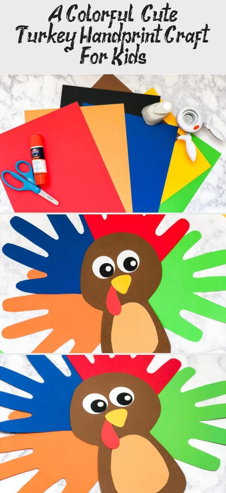 A Colorful & Cute Turkey Handprint Craft For Kids #handprintturkey