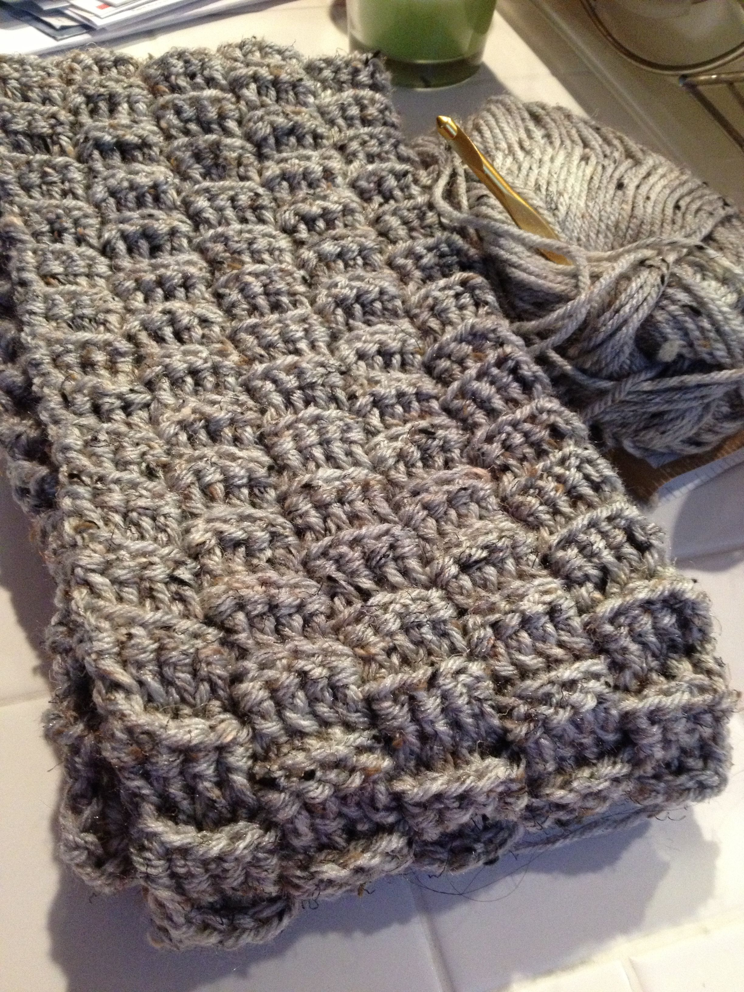 Easy basket weave scarf! Ch 22 Row 1- dc in 2nd ch from hook. 1 dc ...