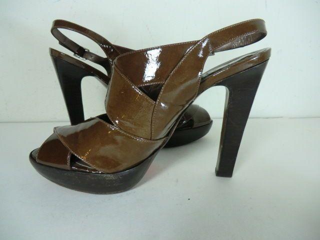 Marni Brown Patent Leather Criss Cross Slingback High Peep Toe Pumps Sz 40.5 #Marni #PumpsClassics