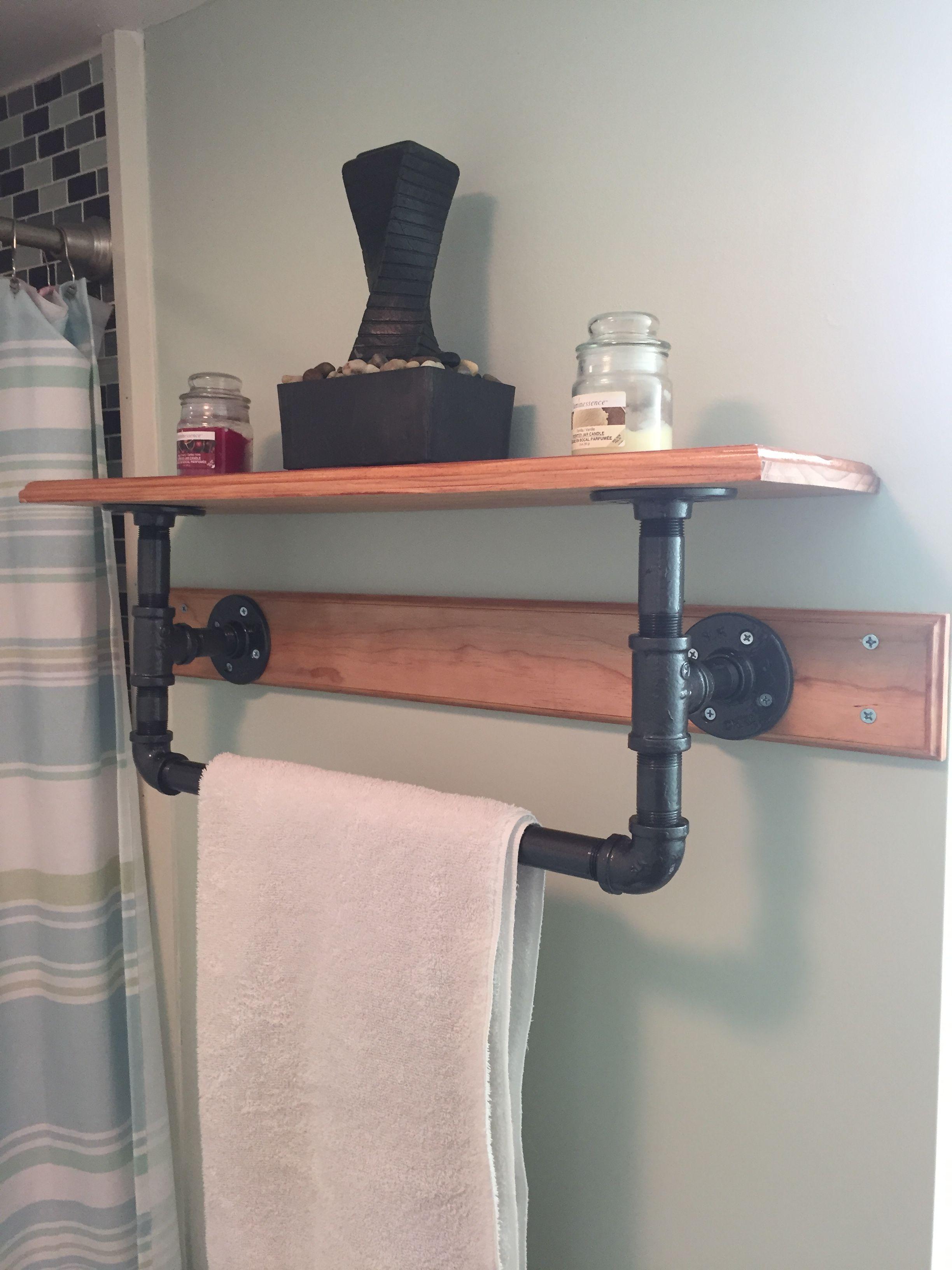 Metal pipe bathroom towel rack / shelf. diy rustic, water pipe.