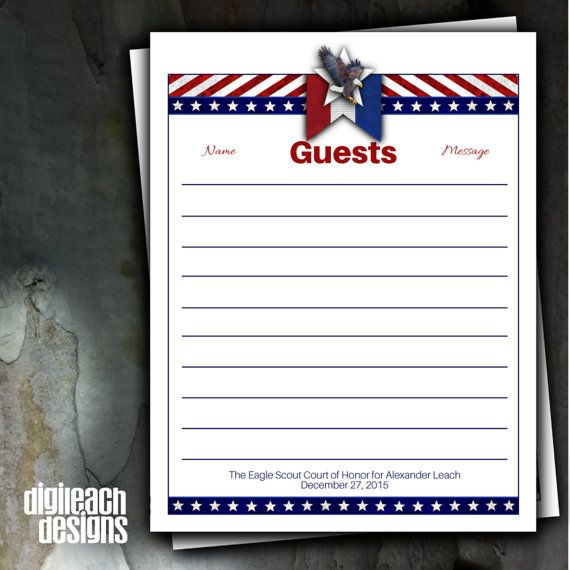 Eagle Scout Court of Honor Guest Book Page by DigileachDesigns - resume paper office depot