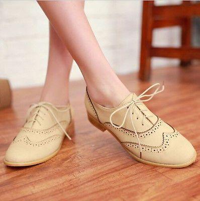 Zapato Bajo De Cuero Mujeres Lace Up punta del ala Oxford College estilo plano zapatos de moda de gran tamaño