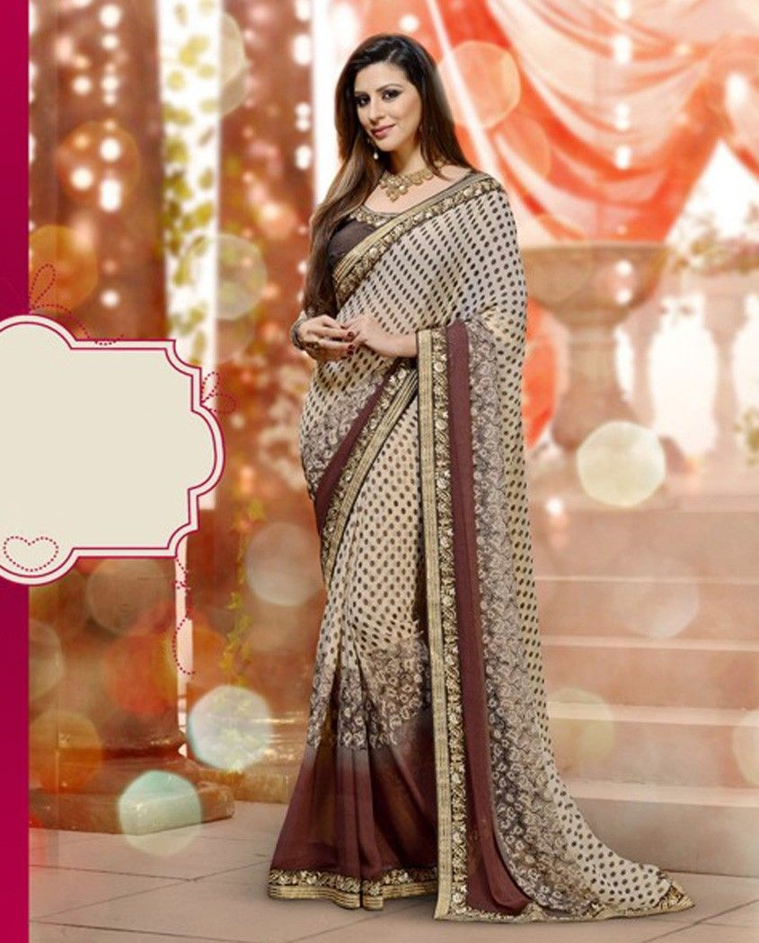 Peach color saree for wedding brown and beige sari with golden embroidered border  brown and