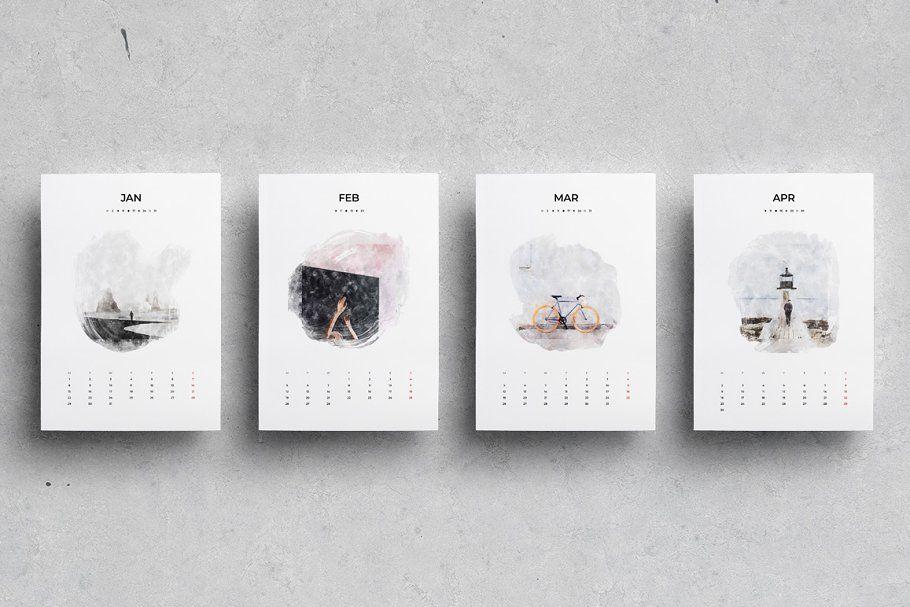 2019 Watercolor Calendar ~ Stationery Templates ~ Creative Market