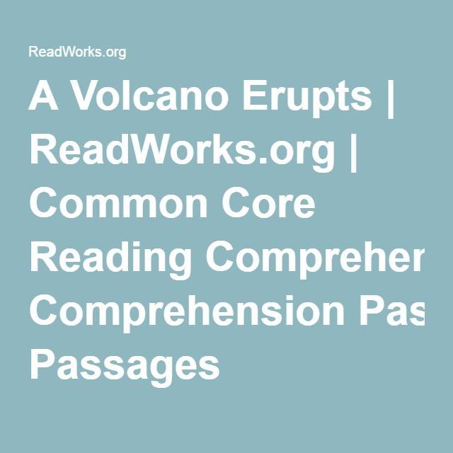 A Volcano Erupts Readworks Common Core Reading Comprehension