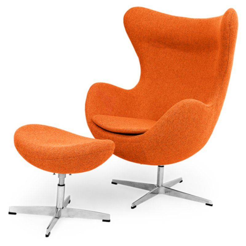 Kardiel Amoeba Swivel Accent Chair with Ottoman Cinnabar - EGG-CINNABAR-TWILL