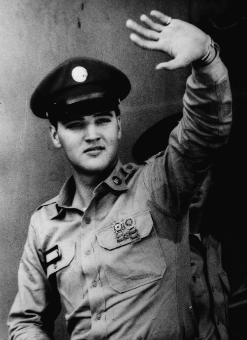 presley-elvis: Elvis arrives at the Brooklyn Army Terminal before his leave for Germany. September 22nd, 1958.