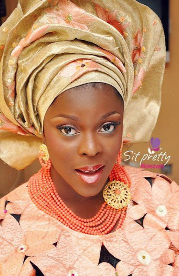 Yoruba Bride In Pink And Gold Traditional Wedding Attire Pretty Makeup By Sit Makeovers