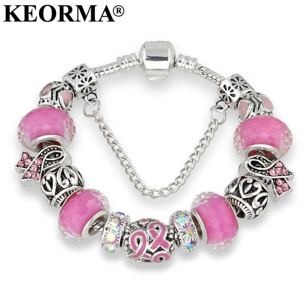 Keorma antique silver bracelets for women murano glass bead crystal