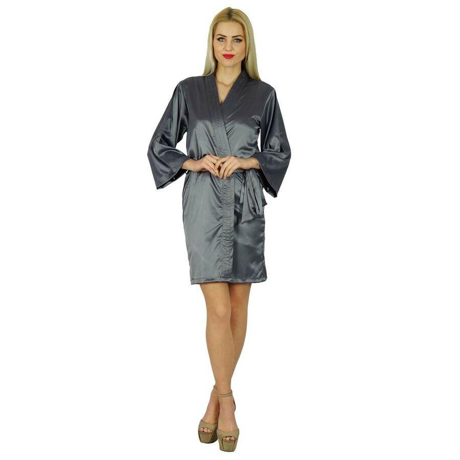 821ce271b6 Bimba Women Short Satin Getting Ready Gray Robe Bridesmaid Kimono Sleeve  Coverup Satin Ready