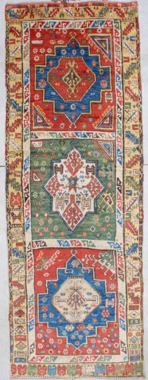 "7121_Konya Antique Oriental Rug Size 4'8"" x 12'10""  (146 x 395 cm).   Age: Circa 1870  - See more at: http://www.antiqueorientalrugs.com/turkish.htm#sthash.fX8w5RbV.dpuf"