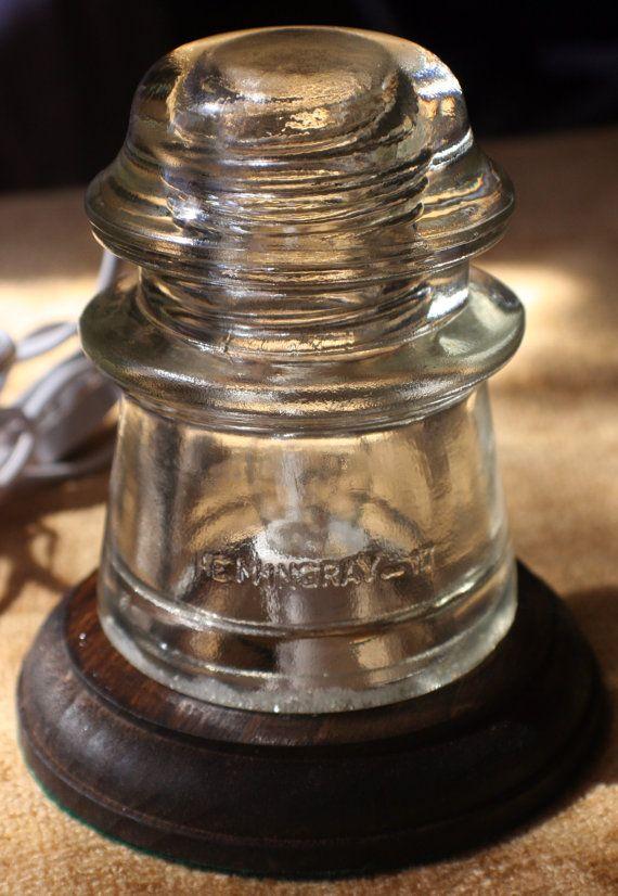 HEMINGRAY 17 Antique Insulator Night Light / Desk Lamp. $13.00, via Etsy.