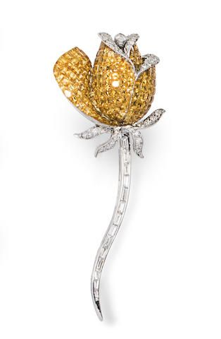 A yellow sapphire, diamond and 18k white gold rose clip-brooch