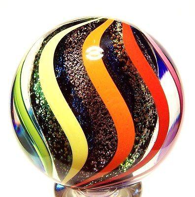 "EDDIE SEESE ART - GLASS 2"" SOLID DICHROIC LOBED CORE RAINBOW REVERSE TWIST MARBLE"