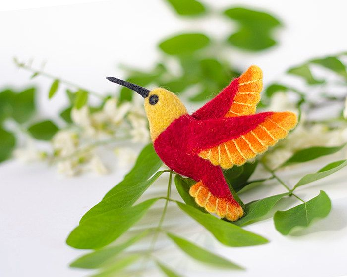 Hummingbird brooch / colibri brooch / red brooch / tropical bird jewelry / woodland brooch / colorful brooch / summer brooch / felt bird pin (24.00 USD) by TaniaFelt