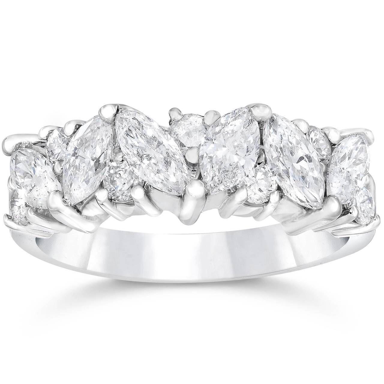 marquise wedding band white gold