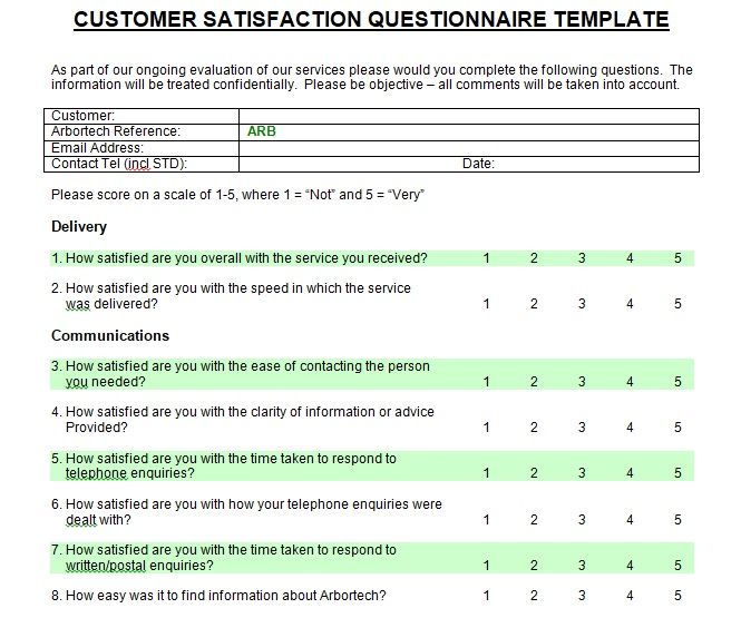 Printable Customer Satisfaction Survey Template Microsoft Word