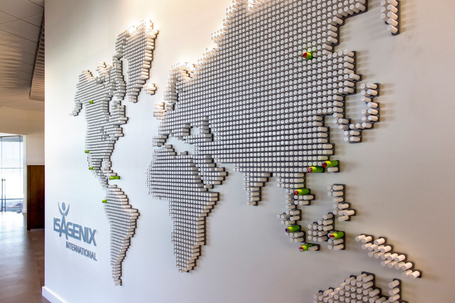 this map is fabricated using custom routed acrylic pegs mounted to a back plate  each isagenix