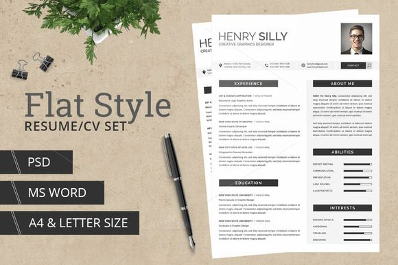 flat style resumecv with ms word by typography prime on creative market