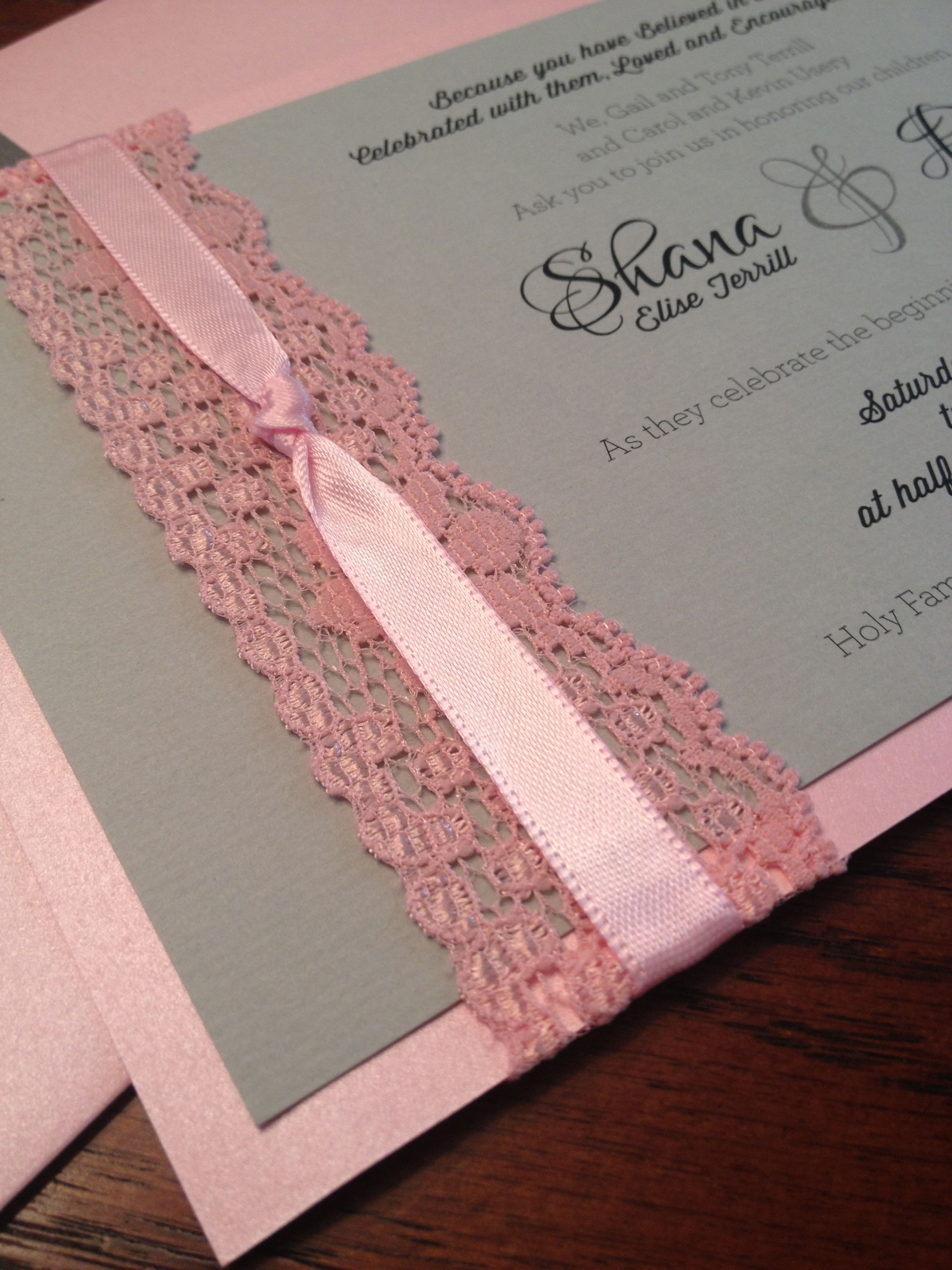 tie the knot wedding invitations etsy%0A Pink and grey lace wedding invitations
