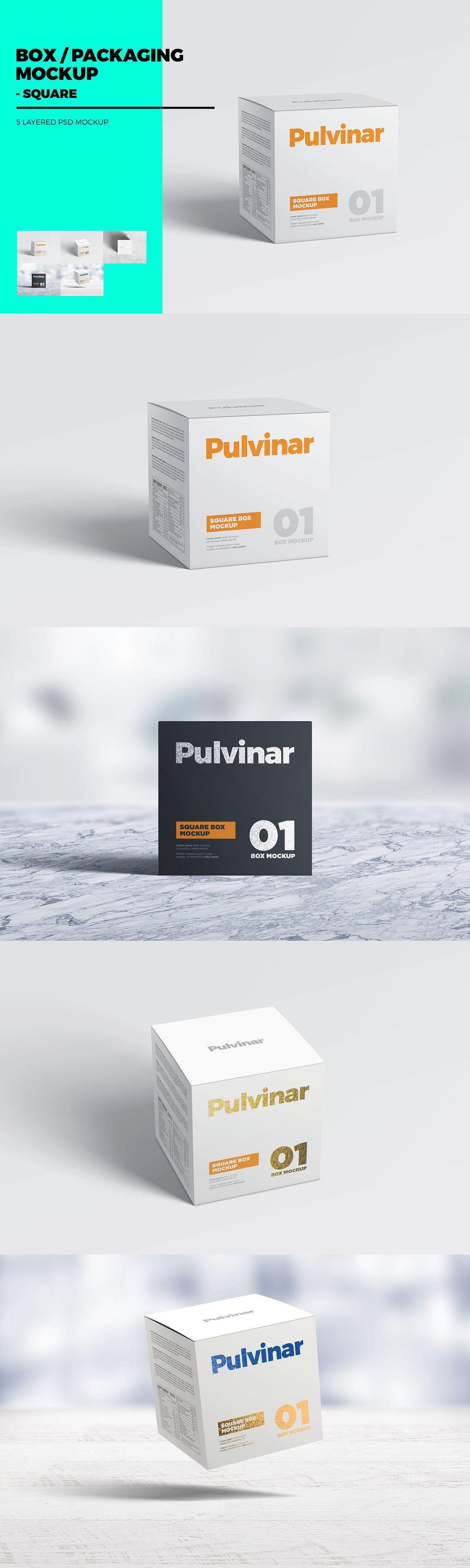 Download Box Packaging Mockup Square Packaging Mockup Box Packaging Container Design