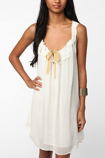 Lucca Couture  Lucca Couture Chiffon Tie Top Baby Doll Dress - White