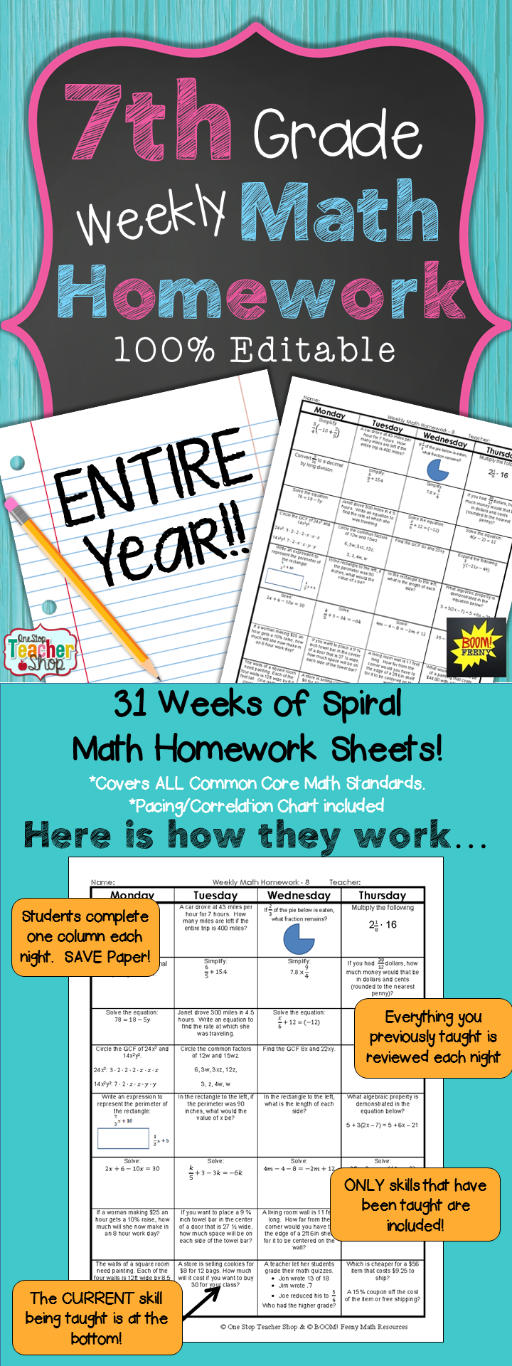 7th Grade Math Spiral Review | 7th Grade Math Homework or Warm Ups ...