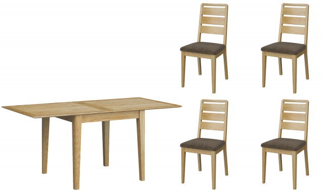 Kenwood85cm Flip Top Dining Table With 4 Ladder Back Dining Chairs