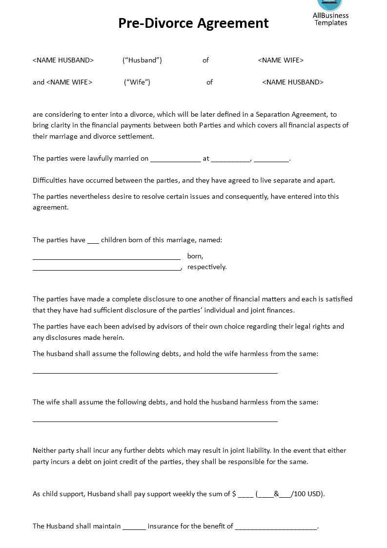 Pre Divorce Agreement Download This Pre Divorce Agreement Template If You Are Considerin Divorce Agreement Separation Agreement Template Separation Agreement