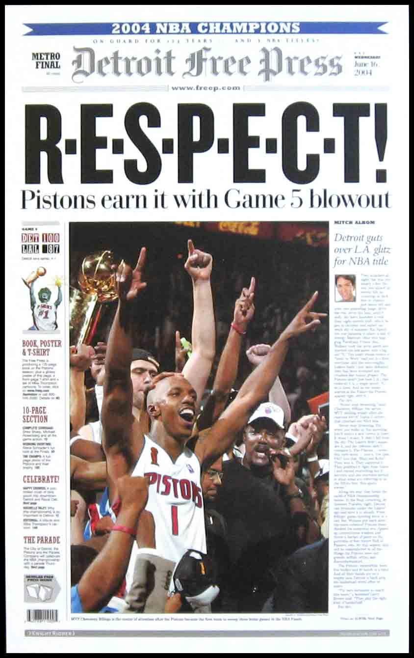 Detroit Pistons Wood Mounted Poster Print Respect NBA