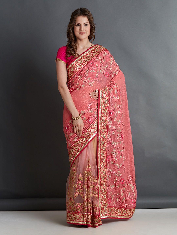 9ff4fb34ce3f91 Buy Mitera Pink Embroidered Silk Blend Saree - Sarees for Women 4406399    Myntra