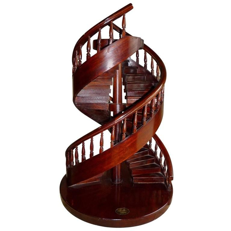 French Mahogany Miniature Double Spiral Staircase, Model by a Craftsman, 1876 1
