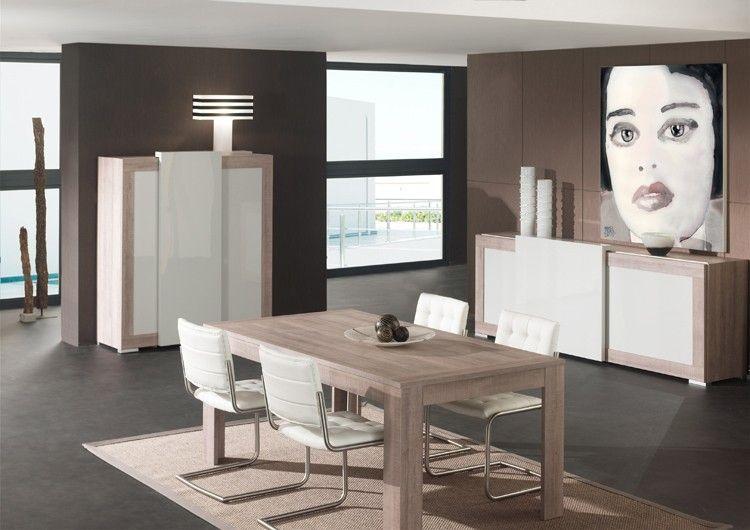 Salle à manger complète moderne gris laqué et couleur chêne ...