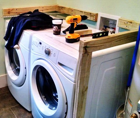 Photo of DIY Laundry Room Countertop Over Washer Dryer