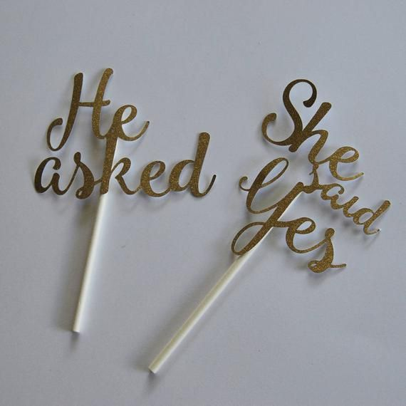 He Asked She Said Yes Cupcake Toppers, Engagement Cupcake Toppers, Engagement Party Decor, Custom Parties by PartyAtYourDoor on Etsy