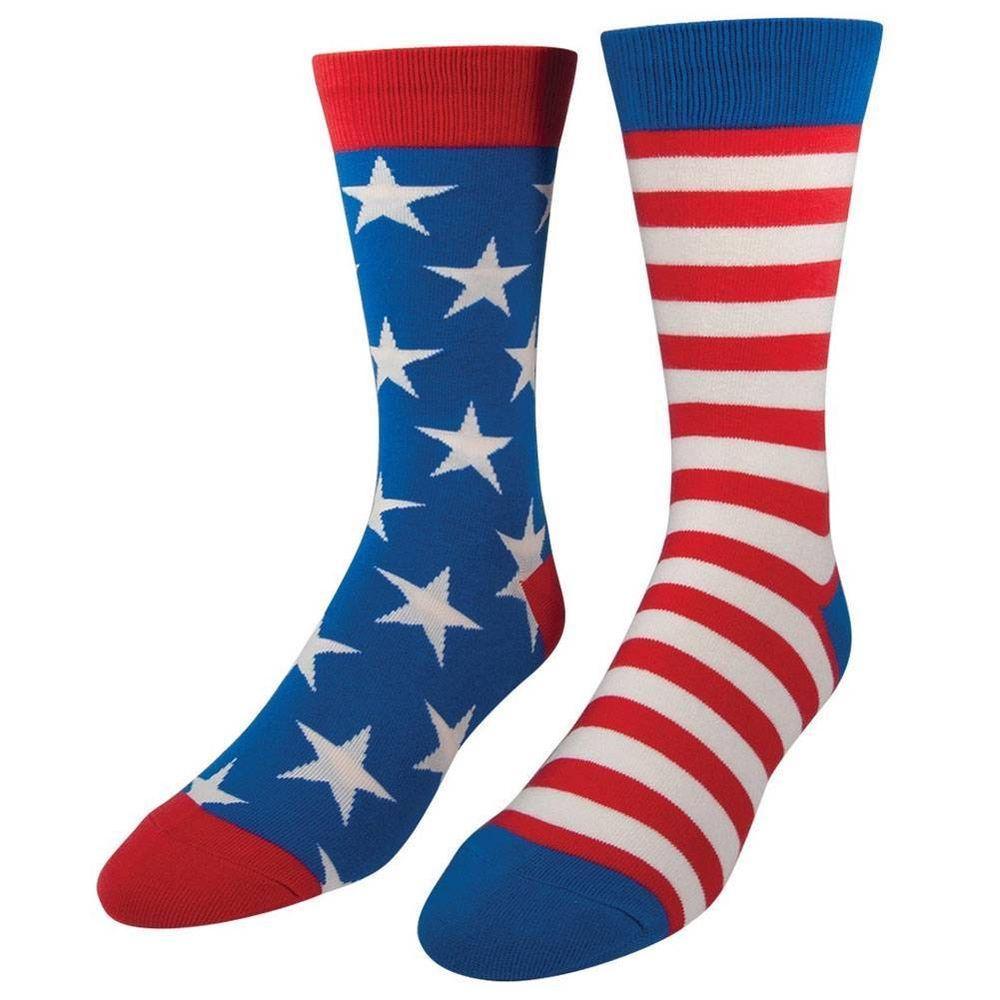 Socksmith Men's American Flag Socks Novelty Red White & Blue Footwear Crew Sock #Socksmith #Casual