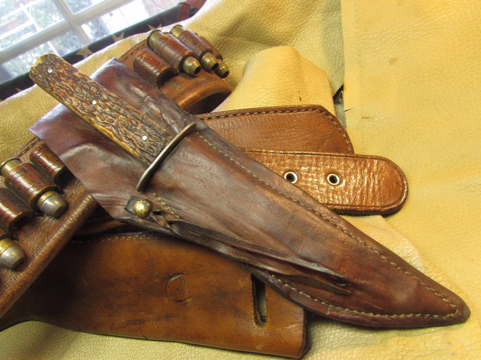 Vintage Stag Hunting Knife, Small Bowie Knife, Cowboy Action