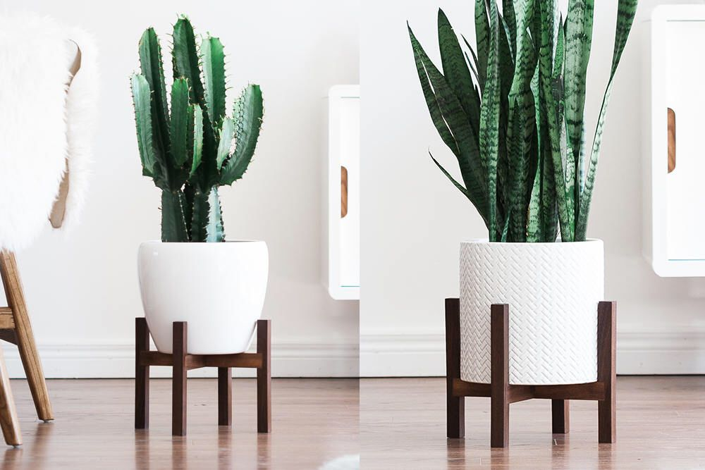 Mid Century Modern Planter Ideas: Mid Century Modern Plant Stand With Square Legs, Planter